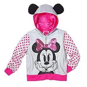 DISNEY Minnie Mouse Sequin Zip-Up Hoodie w/ Ears 5